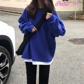 現貨-超火連帽T恤女春秋假兩件薄款外套韓版潮學生寬鬆上衣服4-14 熱賣單品