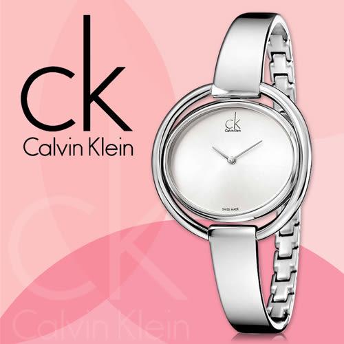 CK手錶專賣店 K4F2N116 女錶 強化礦物玻璃鏡面 白面 石英 不鏽鋼錶殼錶帶 彎折式壓頭