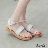 amai蛇紋一字寬帶指環夾腳平底涼鞋 白