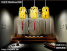 INPHIC-新古典酒店茶樓走廊手繪布藝吊燈中式餐廳書房茶室仿羊皮燈籠-春色滿園22x32cm帶吊穗_S3081C