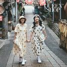 Queen Shop【01084824】V領配色大圓點洋裝 兩色售*現+預*