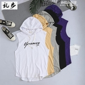 (免運) 夏季新款歐美運動連帽背心男士寬鬆籃球健身坎肩馬甲無袖T恤