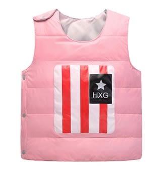 女Baby女童裝輕便型羽絨背心粉色可愛國旗印花羽絨背心現貨90%絨