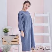 【Tiara Tiara】百貨同步aw 純棉寬版寬袖長袖洋裝(藍格子/素面藍) 漢神獨家