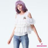 【SHOWCASE】甜美挖肩多層次荷葉蛋糕寬襬上衣(白)