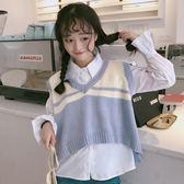 秋裝韓版寬鬆ulzzang針織衫學生襯衫 短款毛衣無袖背心馬甲套裝女『新佰數位屋』