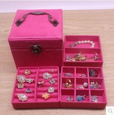 首飾盒公主歐式韓國手飾品首飾收納盒飾品盒【玫紅】