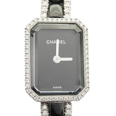CHANEL 香奈兒 黑色陶瓷18K白金鑲鑽石英腕錶 Premiere Mini S H2147 【BRAND OFF】