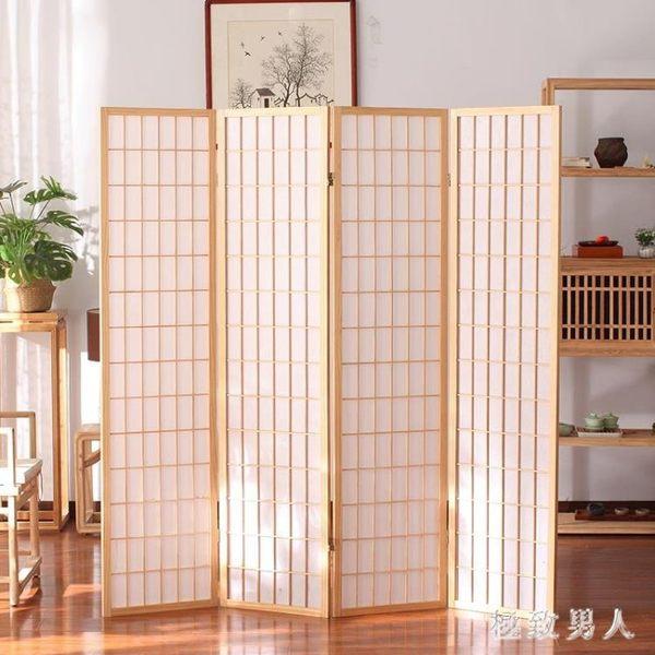 日式屏風隔斷玄關折疊移動客廳簡約現代實木屏風茶室樟子格背景墻TA6681【極致男人】