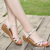 新款涼鞋女夏中跟真皮百搭厚底坡跟牛筋底簡約平底涼鞋   多莉絲旗艦店