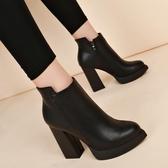 裸靴秋季新款粗跟尖頭高跟短靴防水臺百搭短筒女鞋子馬丁靴裸靴冬 小天使