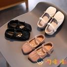 女童皮鞋軟底小公主鞋兒童豆豆鞋方頭寶寶鞋休閒鞋【淘嘟嘟】