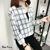 藍色巴黎 - 韓版chic复古翻領開襟排釦寬鬆長袖格子襯衫 上衣 外套 【28818】