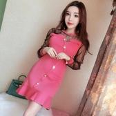 2018秋裝新款韓版氣質網紗長袖拼接針織修身顯瘦包臀魚尾裙洋裝