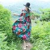 民族風沙灘裙寬鬆拼色長裙夏季棉麻印花復古連衣裙 快速出貨