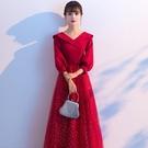 尾牙禮服 敬酒服新娘新款酒紅色秋冬平時可穿現代結婚晚禮服女長款冬季-快速出貨