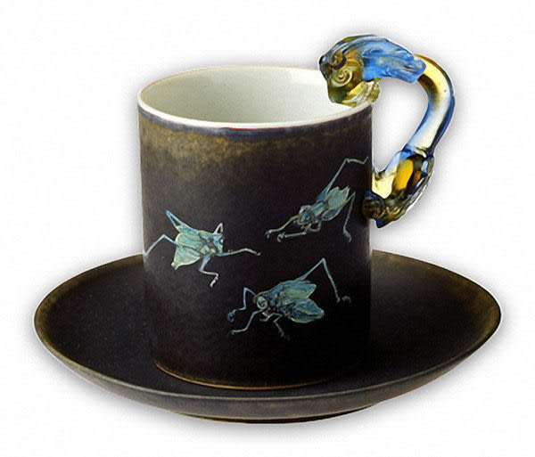 鹿港窯~ 陶瓷琉璃耳馬克杯系列【螽蟖馬克杯】 附精美包裝◆免運費送到家