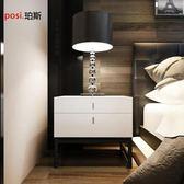 床頭櫃現代臥室烤漆床頭櫃儲物櫃 黑色鐵架腳床邊櫃時尚簡約二斗櫃定制 維娜斯