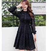 立領鏤空蕾絲長袖約會洋裝[98997-QF]美之札