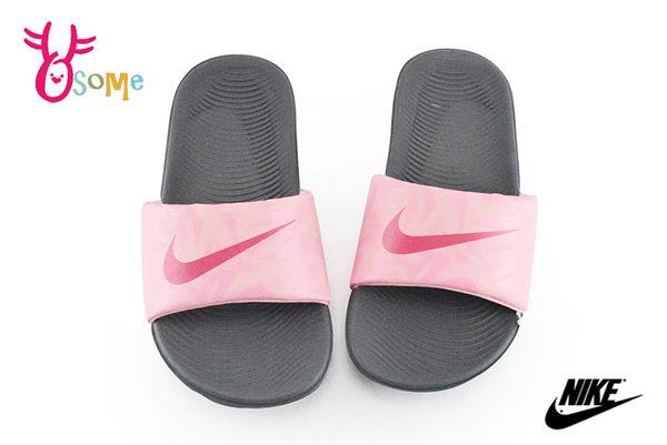 NIKE拖鞋 KAWA SLIDE PRINT 運動防水拖鞋 中大童 O7117#灰粉◆OSOME奧森童鞋