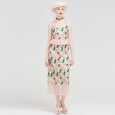 荷葉邊無袖上衣+長裙(兩件套)-優雅氣質拼接繡花女裙裝73lk29[巴黎精品]
