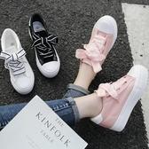 增高鞋 2020春秋新款厚底內增高帆布鞋女鞋絲帶小白鞋女士休閒鞋低幫布鞋 中秋節