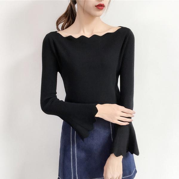 2019秋季新款一字領長袖毛衣百搭修身喇叭袖洋氣打底針織衫女上衣