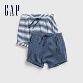 Gap 嬰兒 柔軟舒適鬆緊短褲(兩條裝) 577935-淺石楠藍