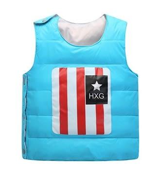 男Baby男童裝輕便型羽絨背心藍色可愛國旗印花羽絨背心現貨90%絨