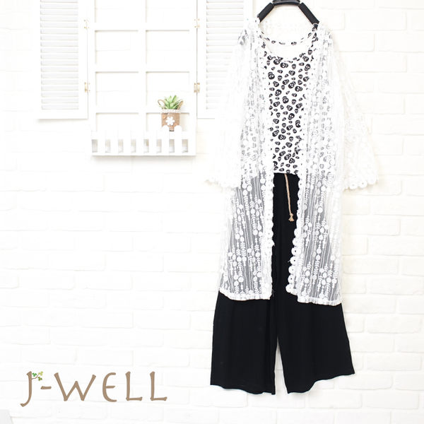 J-WELL 幾何圓點蕾絲外罩背心寬褲三件組 (組合A60 8J1495白+8P8285白+8J1477黑)