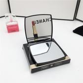 隨身折疊鏡便攜補妝鏡子學生翻蓋雙面化妝鏡小號網紅同款手柄鏡