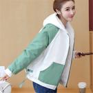 學生夾克外套 女生外套時尚棉服 女士外套運動棒球服 韓版外套百搭外套 潮流羊羔毛短款上衣