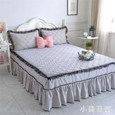 簡約純棉夾棉床裙三件套1.2m1.5m單人床罩100%全棉純色荷葉邊床套 js5752『小美日記』