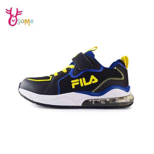 FILA童鞋 男童運動鞋 氣墊鞋 慢跑鞋 運動鞋 跑步鞋 魔鬼氈運動鞋 大童 康特杯 R7676#黑色◆奧森