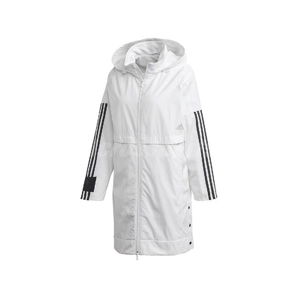 adidas 外套 Woven Hood Long Jacket 白 黑 女款 連帽 長版 運動休閒 【ACS】 FT1757