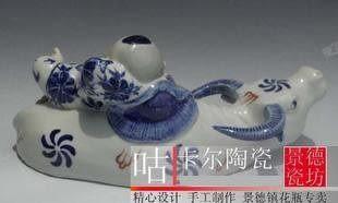 景德鎮陶瓷器手繪青花瓷 牧童騎牛