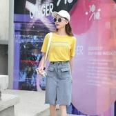 2019夏季新款高腰顯瘦中長款牛仔半身裙女百搭修身開衩包臀牛仔裙