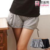 短褲--絕佳舒適雙口袋褲腳抽繩設計素面棉麻短褲(黑.灰M-2L)-R90眼圈熊中大尺碼◎