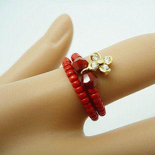 飾界小飾品美麗花朵食指戒指可愛女指環紅