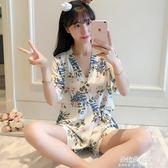 和服睡衣夏季日繫和服睡衣女花卉短袖甜美夏天針織棉大碼小清新家居服薄款  朵拉朵衣櫥