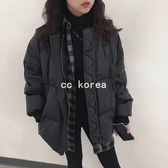 保暖羽絨黑色棒球外套 CC KOREA ~ Q25766