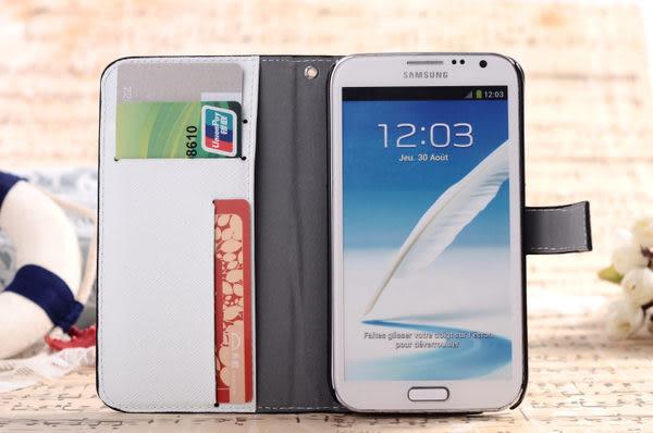 note 2 免運+任二件$900 三星N7100 Note2卡通掛繩皮套 支架插卡皮套 手機套