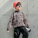 水貂絨潮牌男中大童針織衫 男孩長袖韓版毛衣 男寶寶毛衣套頭衫上衣 男童秋冬潮流洋氣打底衫