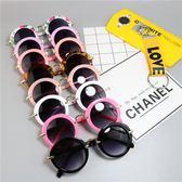 618好康又一發新款兒童太陽鏡小孩墨鏡寶寶眼鏡圓框金屬蛤蟆鏡男女童遮陽鏡