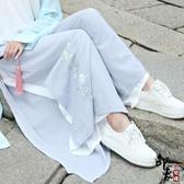 原廠改良漢服女刺繡花民族風直筒雙層宋褲女潮 降價兩天