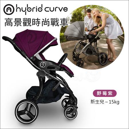 ✿蟲寶寶✿【英國hyBrid】贈雨罩!高景觀 大車輪 四輪避震 時尚精品嬰兒手推車 Curve S 莓果紫