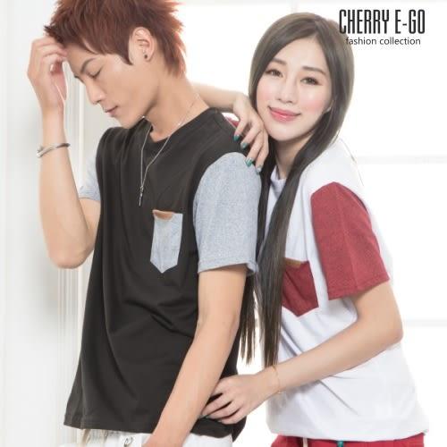 Cherry e購【K6708】潮男/情侶,休閒接色皮飆口袋短T_3色