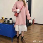 中大尺碼衛衣洋裝 秋新款韓版寬鬆喇叭袖衛衣洋裝女裙子吊帶裙兩件套 DR1027 【KIKIKOKO】