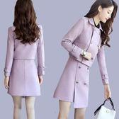毛呢外套毛呢套裝女2018秋冬新款韓版時尚修身顯瘦氣質小香風連身裙兩件套/米蘭世家