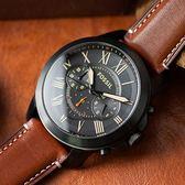 FOSSIL Grant 羅馬戰場三眼計時皮革腕錶 FS5241 熱賣中!